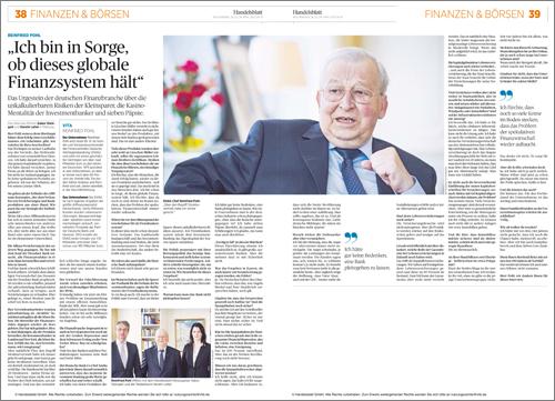 Dr. Pohl - Interview im Handelsblatt vom 26.04.2013